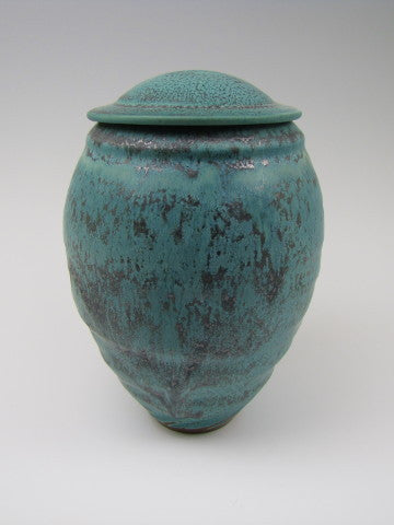 Handmade Freeform Turquoise Pet or Sharing Ceramic Cremation Funeral Urn