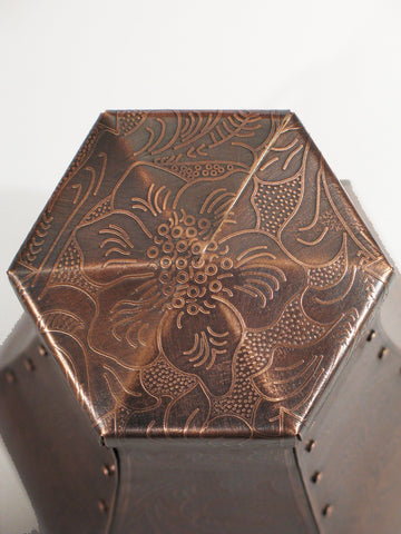 Handcrafted Santa Fe Toulouse Copper Cremation Urn Top View