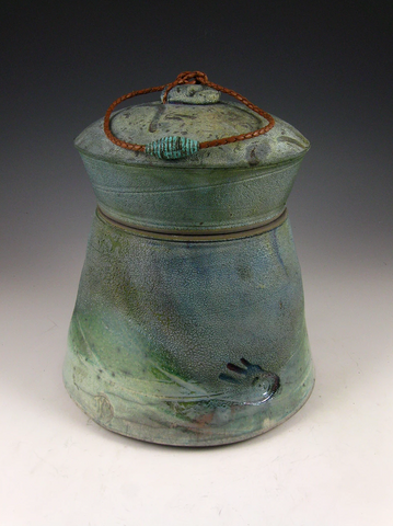 Raku style cremation urn for ashes