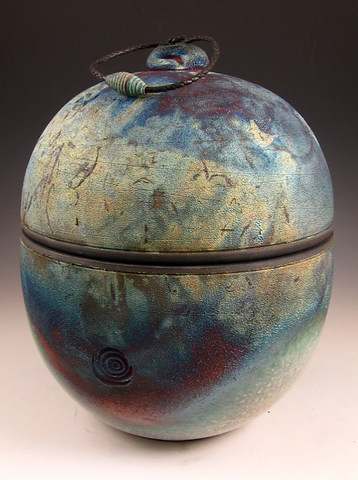 Handmade Raku Style Cremation Urn for Ashes