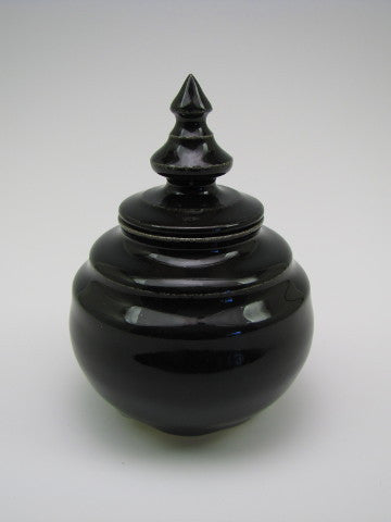 Handcrafted Shiny Black Keepsake Token Cremation Funeral Urn