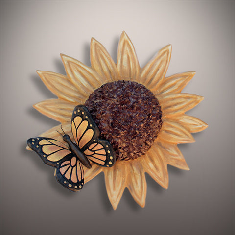 Handmade Sunflower With Butterfly Novelty Ceramic Cremation Urn