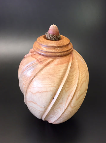 Carved Red Oak Individual Size Urn With Screw On Lid for Ashes