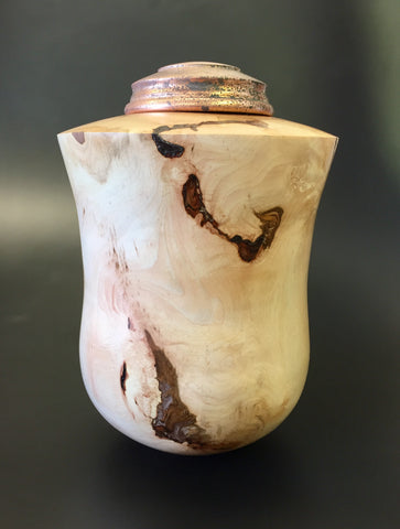 Maple Individual Size Urn With Applique and Screw On Lid for Ashes