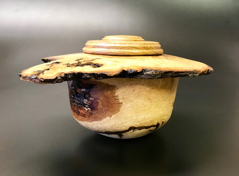 Oak Burl Pet Urn With Screw On Lid for Ashes