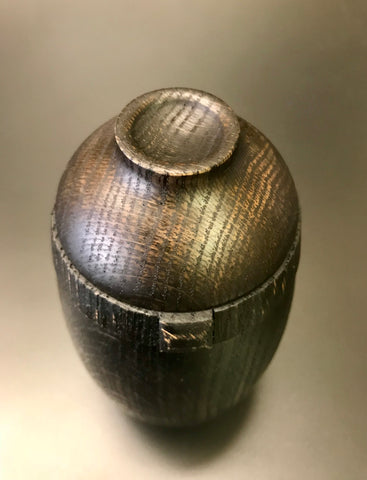 Ebonized Oak Pet or Sharing Urn With Screw On Lid