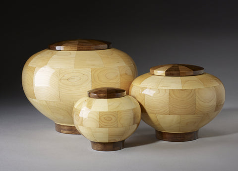 Handmade Maple and Black Walnut Segmented Memorial Wooden Cremation Urns