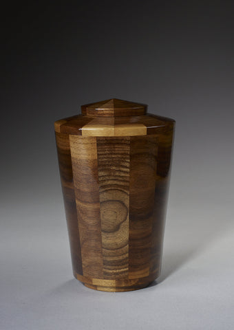 Handmade Black Walnut Segmented Cremation Funeral Wooden Urn