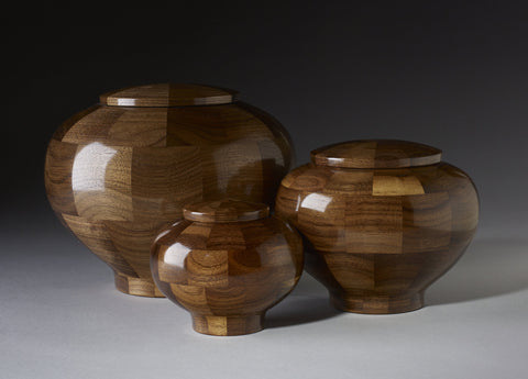 Handmade Black Walnut Segmented Memorial Cremation Wooden Urns
