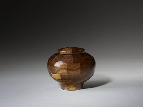 Handmade Black Walnut Segmented Memorial Cremation Wooden Urn