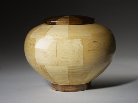 Handmade Maple and Black Walnut Segmented Memorial Wooden Cremation Urn