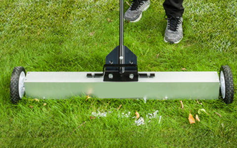 Using the Magnetic Sweeper on grass