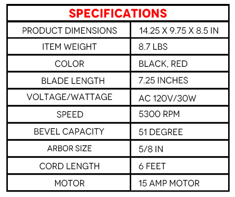 Specifications of  4 Inch Circular Saw with Beam Laser Guide