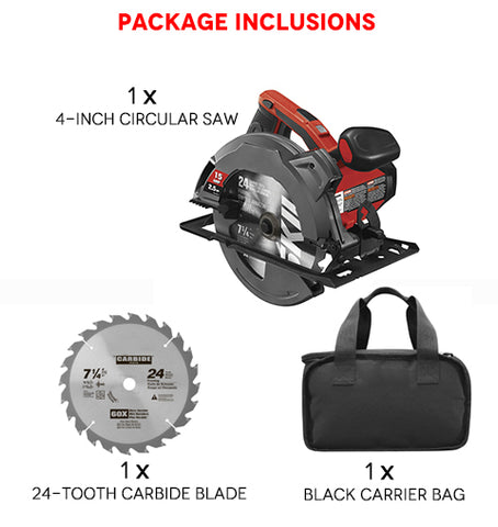 Package Inclusions of  4 Inch Circular Saw with Beam Laser Guide