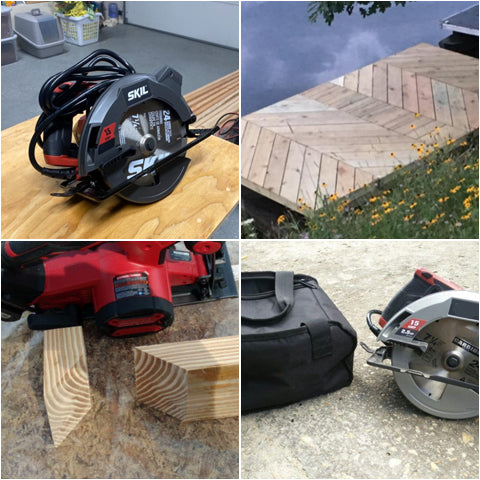 Collage of  4 Inch Circular Saw with Beam Laser Guide