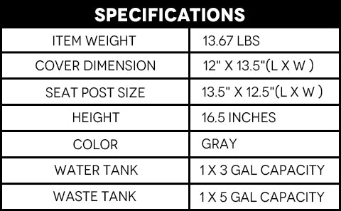 Specifications of 5 Gallon Portable Flush Toilet