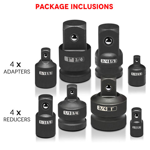 8 Piece Impact Socket Adapter and Reducer Set