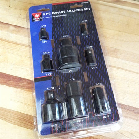 Package of 8 Piece Impact Socket Adapter and Reducer Set