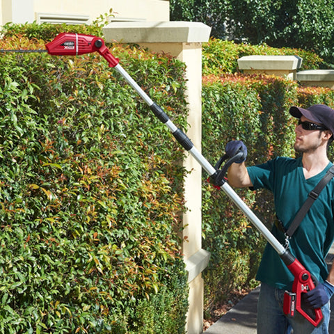 (Using hedge trimmers tomaintainhedges) + (Good looking hedges)