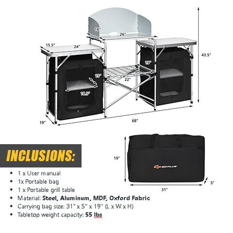 Specifications and Package Inclusions of Portable Camping Table and Storage Organizer