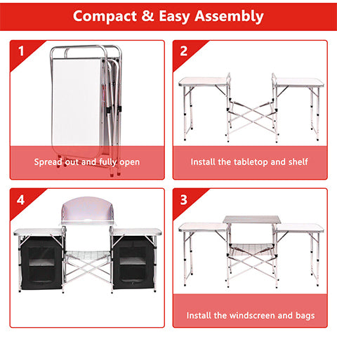 Portable Camping Table and Storage Organizer Set Up Instructions