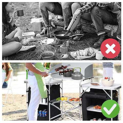 Comparison of using a portable camping table and storage organizer and eating meals on the ground