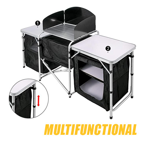 Multifunctional Image and Set Up of Portable Camping Table and Storage Organizer