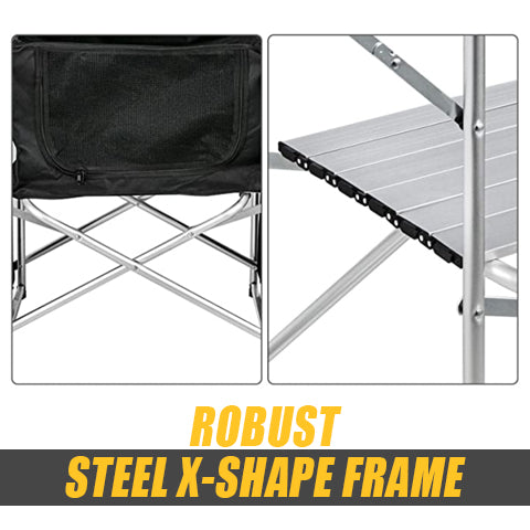 X-shape frame of Portable Camping Table and Storage Organizer