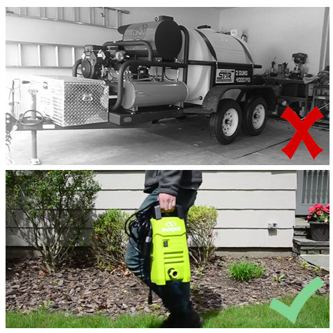 Using a bulky pressure washer VS using our SPX200E Compact Electric Pressure Washer