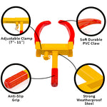 Best features of a tire claw clamp. Adjustable, Soft coating, non-slip and weatherproof.