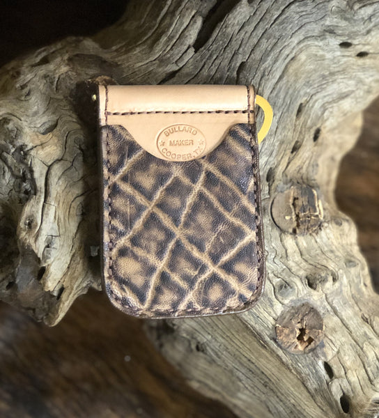 In-Stock Genuine African Elephant Cowboy Wallet- Peat