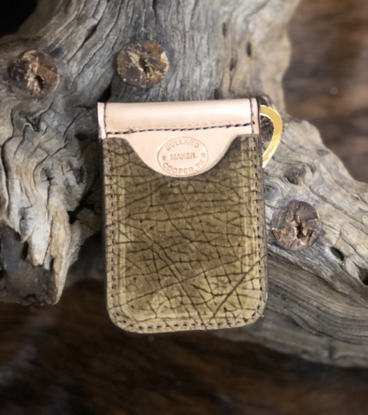 In-Stock Genuine African Hippo Cowboy Wallet- Tan