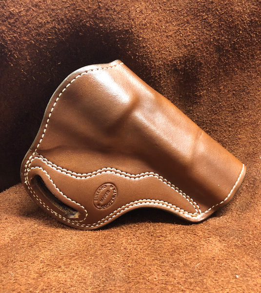 Sale-Crossdraw Holster for Charter Arms Pitbull Smooth Leather Lined Saddle Brown Right Hand