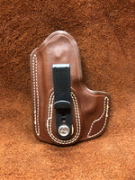 Azle Tuckable IWB Holster for S&W Bodyguard .380- Saddle Brown Left Hand