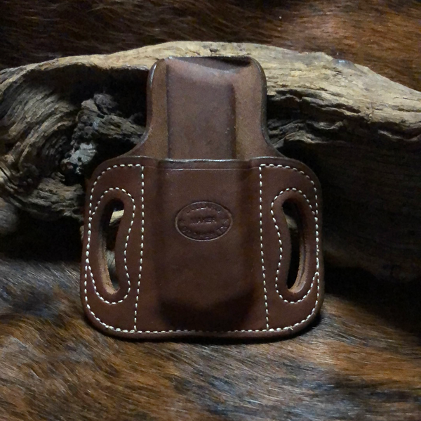 In-Stock Single High Ride Mag Holder for Double Stack 9/40- Saddle Brown