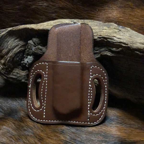 In-Stock Single High Ride Mag Holder for Colt/Kimber 1911- Saddle Brown