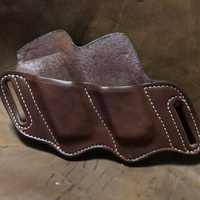In-Stock Double Slant Mag Holder for 9/40- (Saddle Brown) Left Side