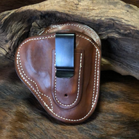 "In-Stock IWB Holster w/ Metal Belt Clip for Smith & Wesson J Frame 1 7/8""-2""-  Smooth Leather Lined (Saddle Brown) RH"