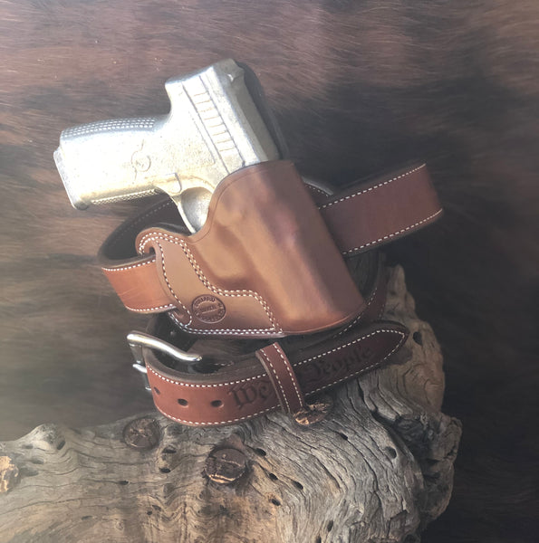 In-Stock  Crossdraw Holster for Kahr PM 45 Saddle Brown Right Hand