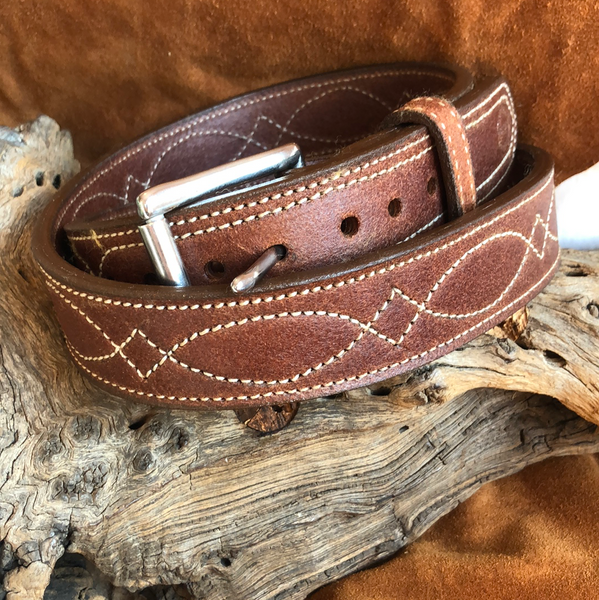 "In-Stock 1.5"" Double Thick Carry Belt Size 41- Fancy/ Rough-Out"