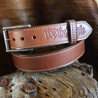 "Imperfect 1.5"" Double Thick Carry Belt Size 44- Saddle Brown ""WTP"""