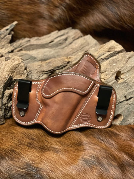 In-Stock Dual Carry Holster for Sig Sauer P365XL Right Hand Smooth Leather Lined Saddle Brown