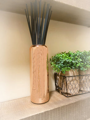 Reed Diffuser Vessel | Copper Luxe | Black reeds