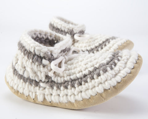 Padraig Cottage Women's Slippers Gray Stripe/Cream Pair