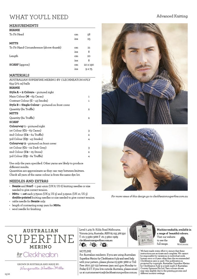453 Men's Beanie, Mitts and Scarf