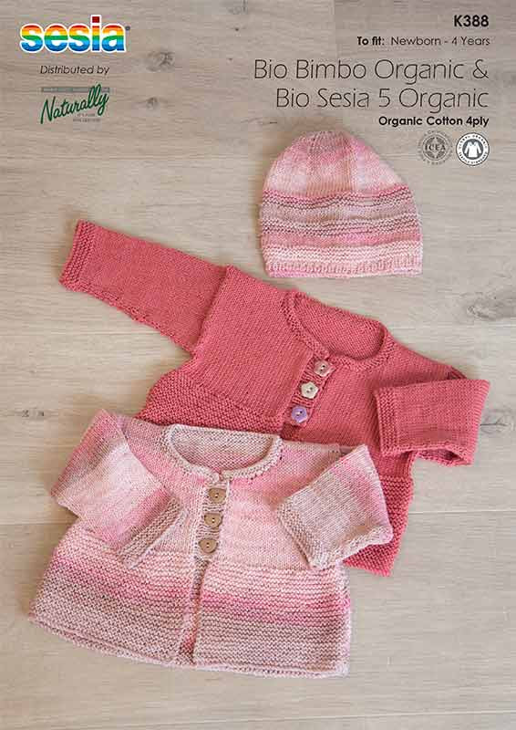 K388 Garter Stitch & Stocking Stitch Jacket & Hat