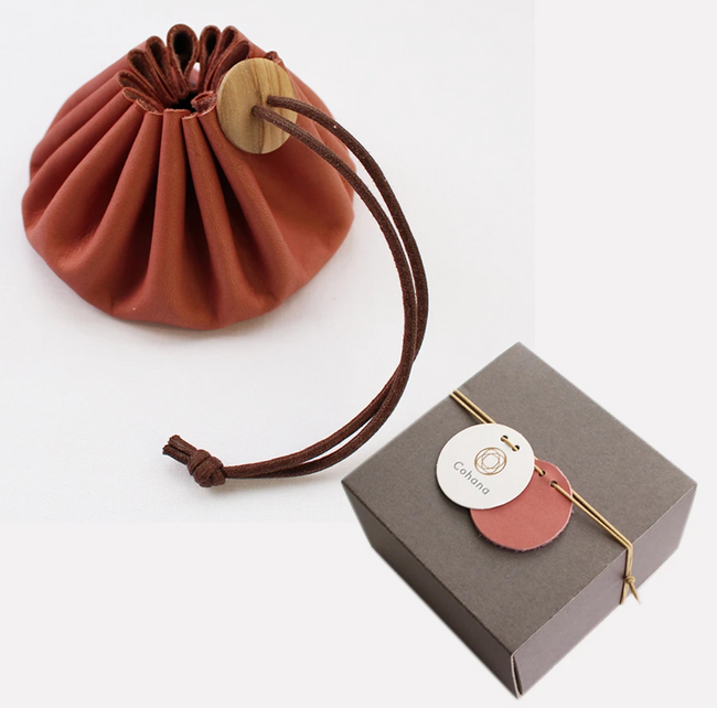 Drawstring Pouch with Himeji Leather