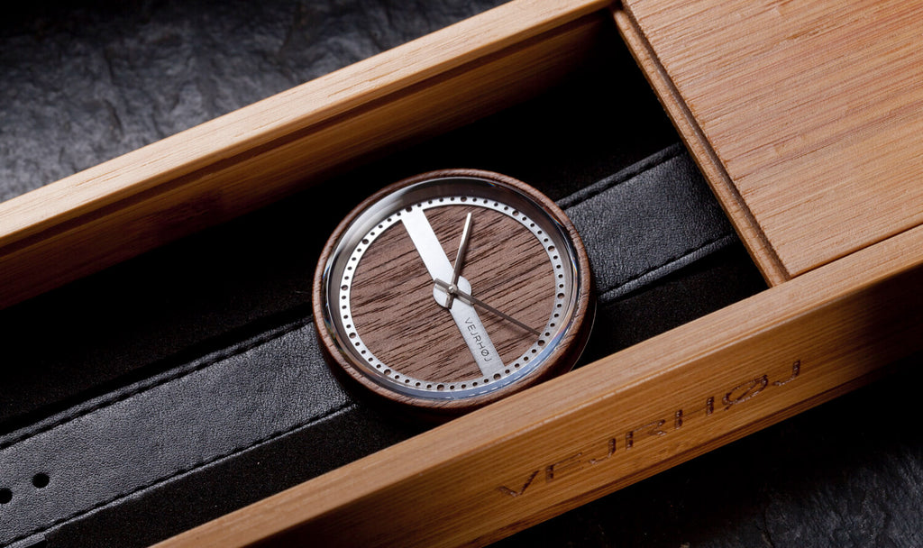 wood and steel watch