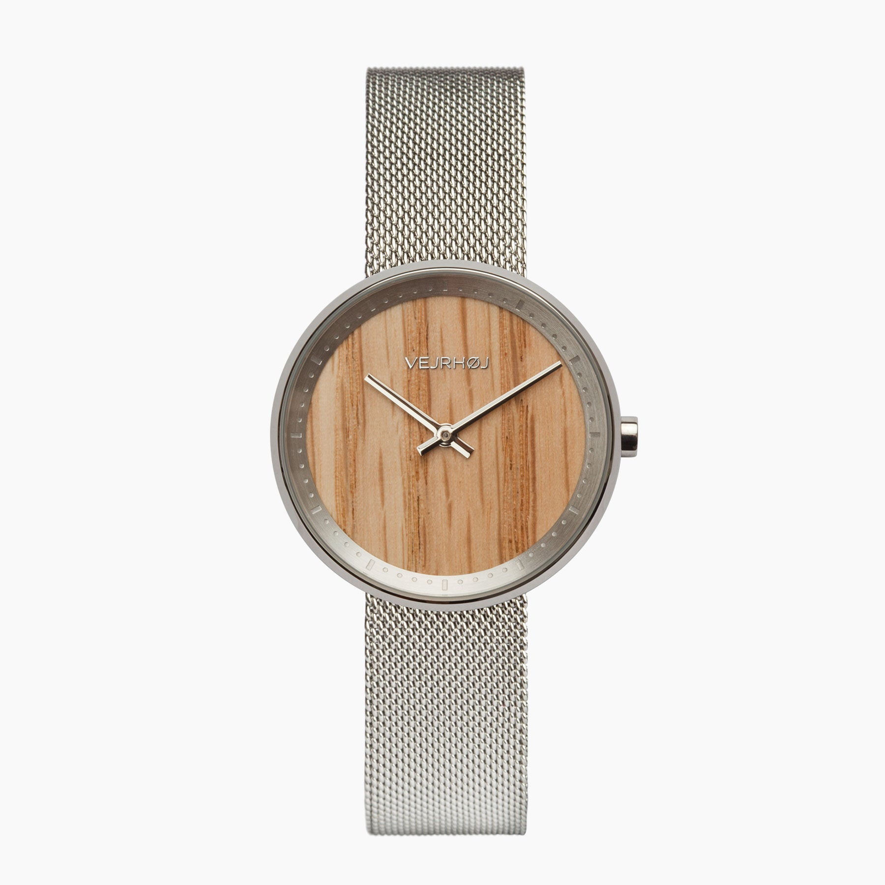 c2abacf93b5b4 Women's Wood Watch - Silver Mesh Band - By VEJRHØJ