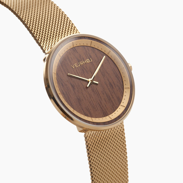 minimalistic gold watch - VEJRHØJ wood watches